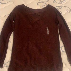 NWT! Cross neck maroon sweater